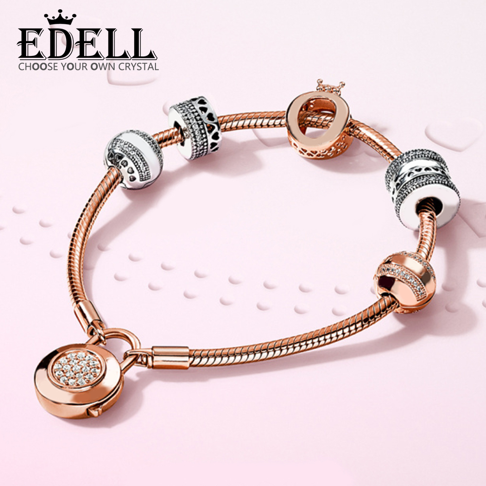 EDELL 100% 925 Sterling Silver Style Noble Luxury Rose Gold Distinguished Lovers Bracelet Set Original Women Jewelry GiftEDELL 100% 925 Sterling Silver Style Noble Luxury Rose Gold Distinguished Lovers Bracelet Set Original Women Jewelry Gift
