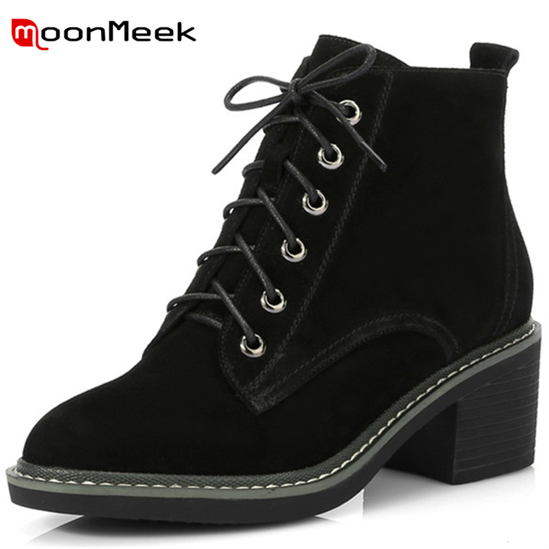 MoonMeek 2018 hot sale women high heels boots new arrive suede leather ladies boots popular round toe ankle boots big size shoesMoonMeek 2018 hot sale women high heels boots new arrive suede leather ladies boots popular round toe ankle boots big size shoes