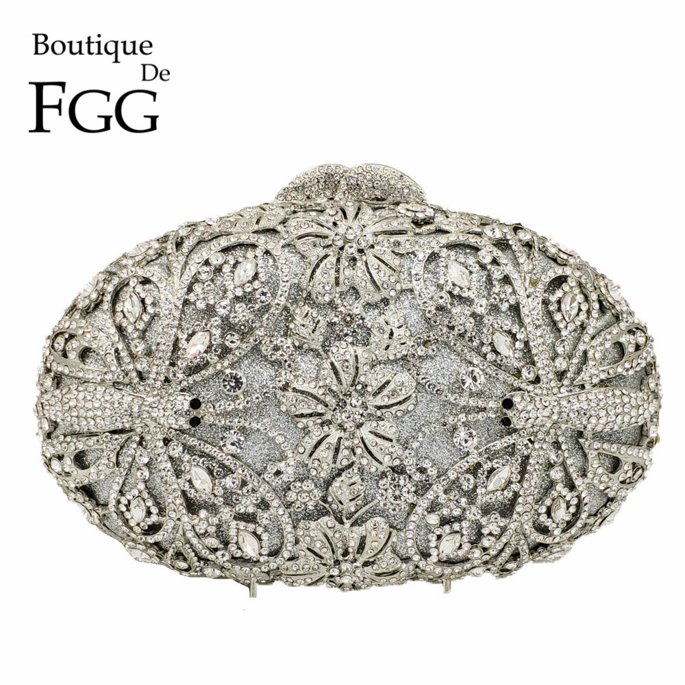 Boutique De FGG motif libellule femmes mode cristal soirée sacs à main et sacs à main De mariée diamant embrayage De mariage sac à main