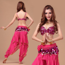 Stage Performance Women Dancewear Tribal Bellydance Outfit Set C/D Cup Coins Bra Skirts Belly Dance Costume 3pcs Bra belt pant