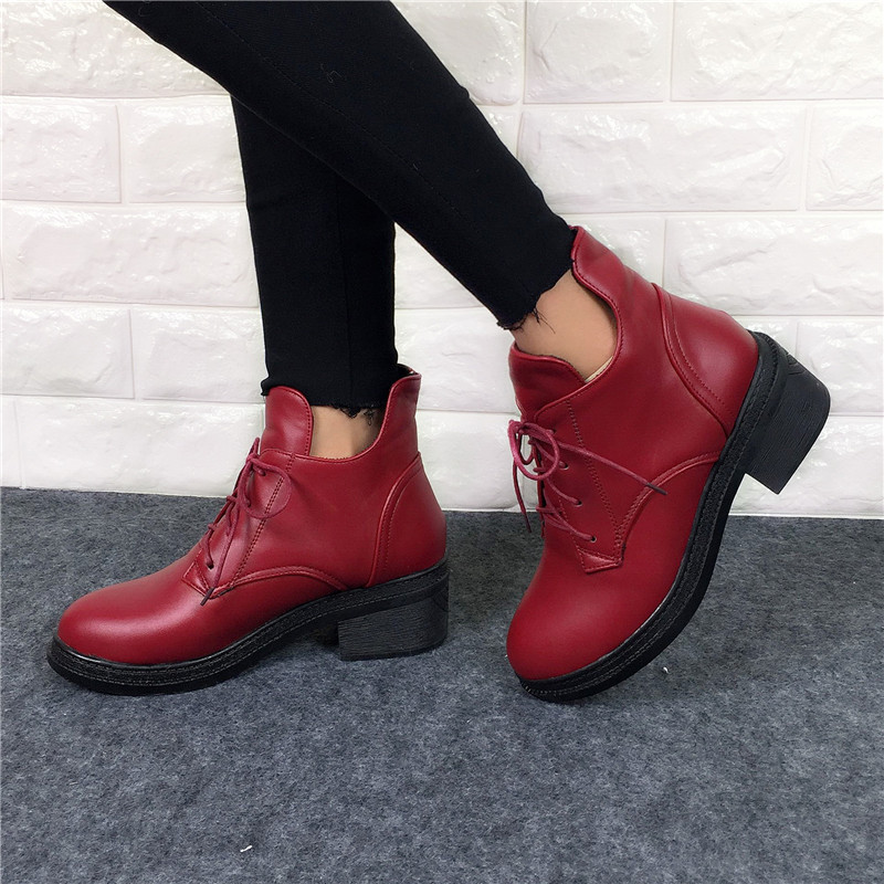 ФОТО 2016 New Fashion Women's Lace Up Combat Punk Ankle Martin Boots Female Shoes Autumn Winter Hot Sell Women  Boots plus size 34-43