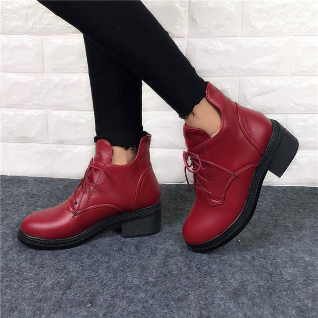 2016 Nova Moda das Mulheres Rendas Até Botas de Combate Do Punk Tornozelo Martin Sapatos femininos Outono Inverno Venda Quente Botas Mulheres plus size 34-43