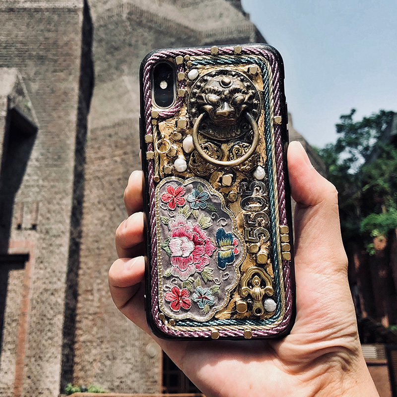 for iphone x case Handmade heavy metal Embroidery 5.5 inches Limited Edition Gold foil Chinese style for iphone 8 plus casefor iphone x case Handmade heavy metal Embroidery 5.5 inches Limited Edition Gold foil Chinese style for iphone 8 plus case