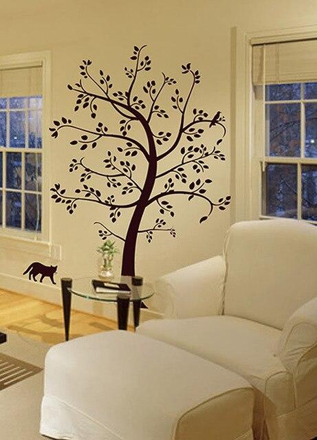 Grand arbre chat & oiseau Sticker Mural déco Art Sticker Mural