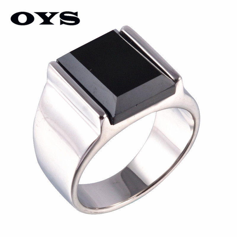 Classic Style Black Onyx 316 Titanium Steel Silver Wedding Party Fashion Design Romantic Ring Size 7 8 9 10 11 12