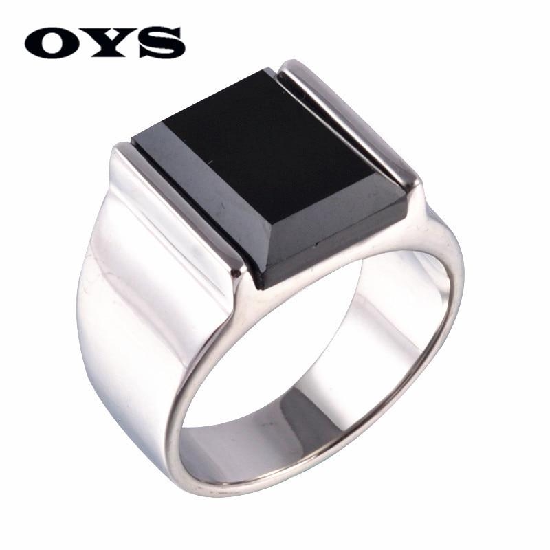 Classic Style Black Onyx 316 Titanium Steel Silver Wedding Party Fashion Design Romantic Ring Size 7 8 9 10 11 12