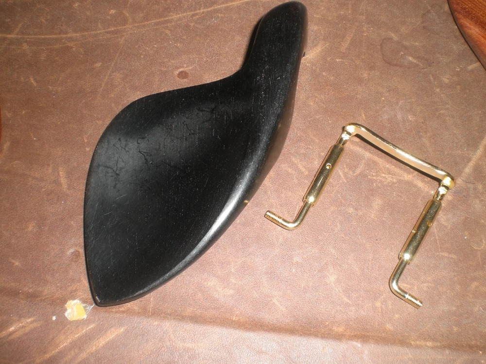 1 PC of Ebony WOOD Violin Chin rest with GOLD color Chin rest screw all in