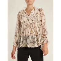 Women Maples Floral Print Silk Top Self Fastening Neck Tie And Gold Tone Metal Tassel Ends