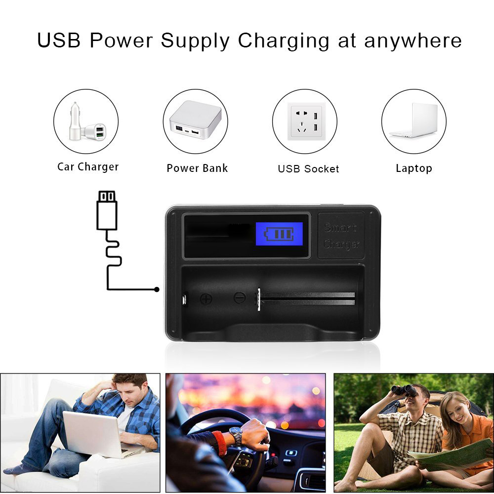 Universal Intelligent Charger,Portable Travelling LCD Smart Display Battery Charger for Rechargeable Batteries AAA Li-ion 18650