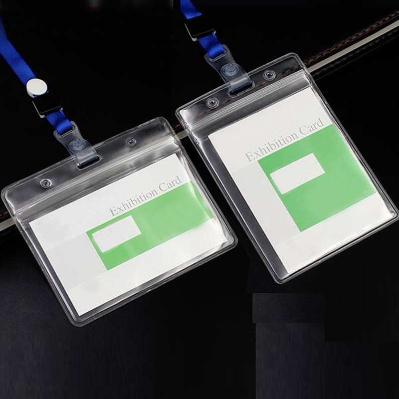 20 Sets Transparent Soft Plastic Clear ID Card Badge Holder Waterproof New Office School Tool Exhibition ID Badge Accessories