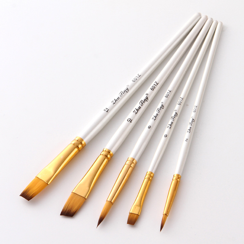 5Pcs Art Painting Brush Set Nylon Hair White Handle Artist Brushes For Acrylic And Oil Painting Paintbrush