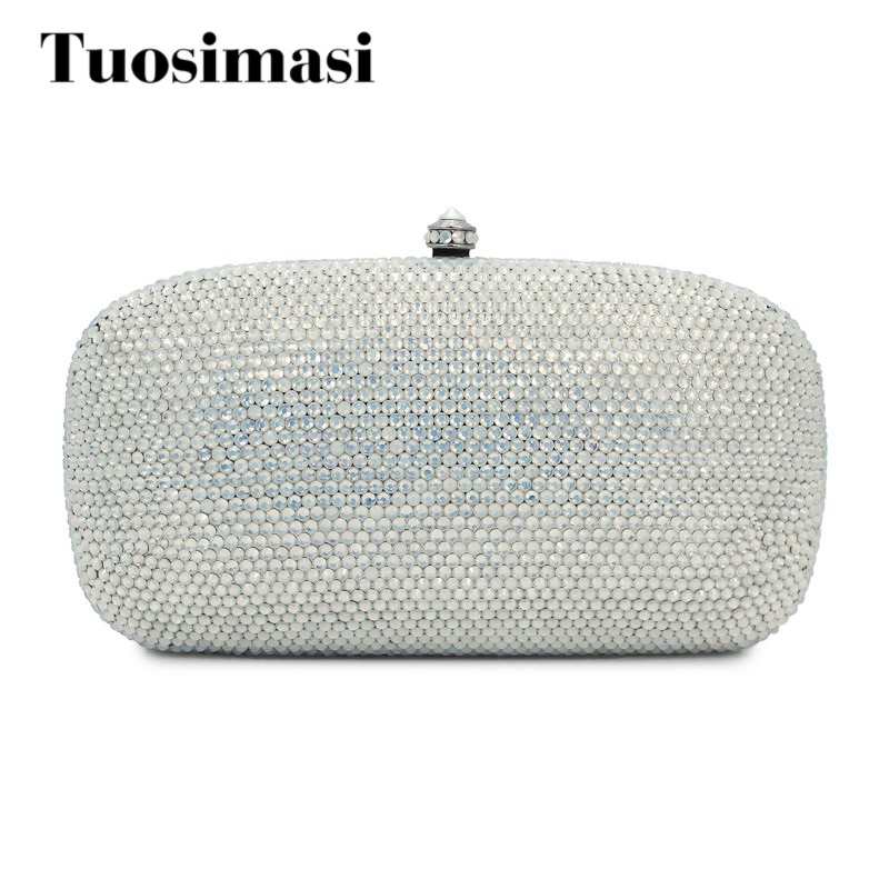decorative  diamond crystal clutch evening bag ladies handbag white opal color women bags luxury crystal clutch handbag women evening bag wedding party purses banquet