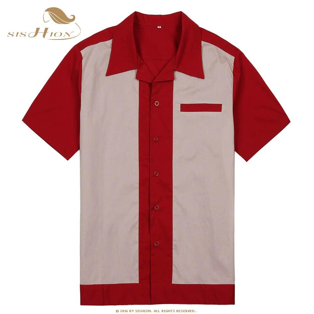 Sishion Männer Bowling Shirt St111 Kurzarm Weiß Rot Blau Mid-century Inspiriert Vintage Männer Shirt Camisa Masculina Hell In Farbe Legere Hemden