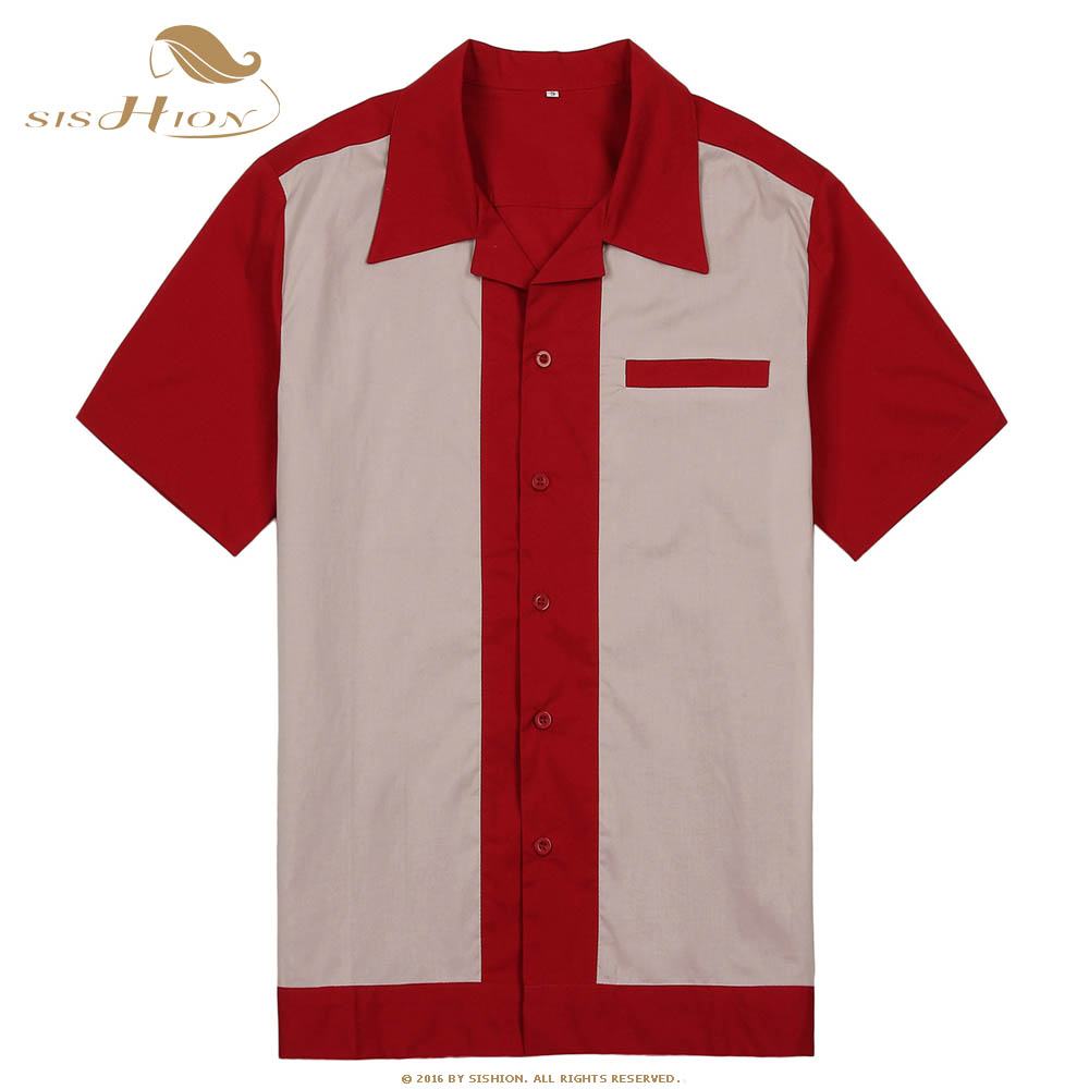 SISHION Men Bowling Shirt ST111 Short Sleeve White Red Blue Mid-Century Inspired Vintage Men Shirt Camisa Masculina