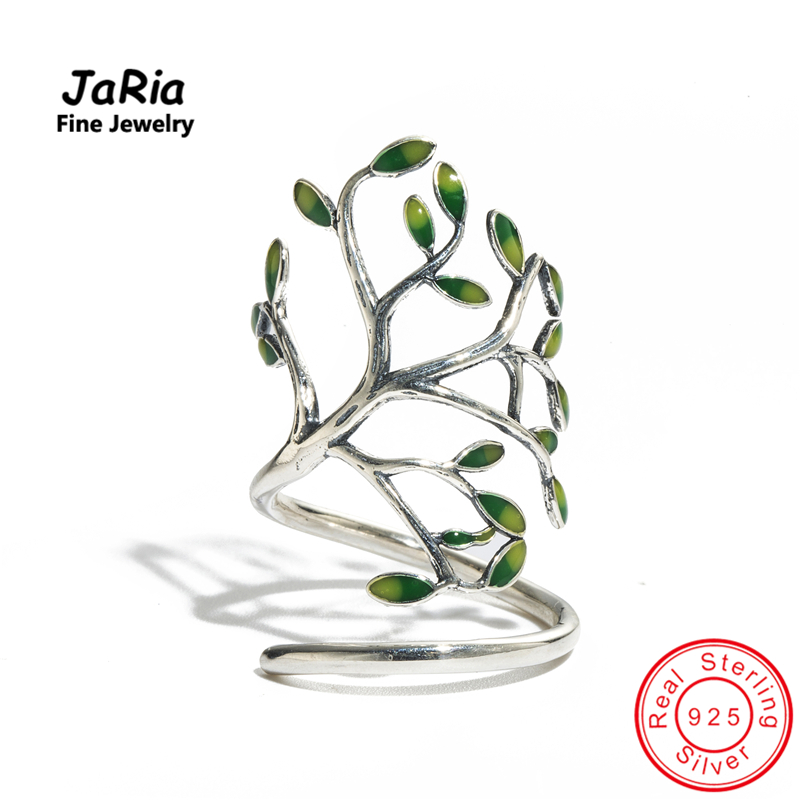 JaRia Fine Jewelry Newest Handmade Real Sterling Silver 925 Jewelry Tree Shaped Wraped Ring Trendy Design
