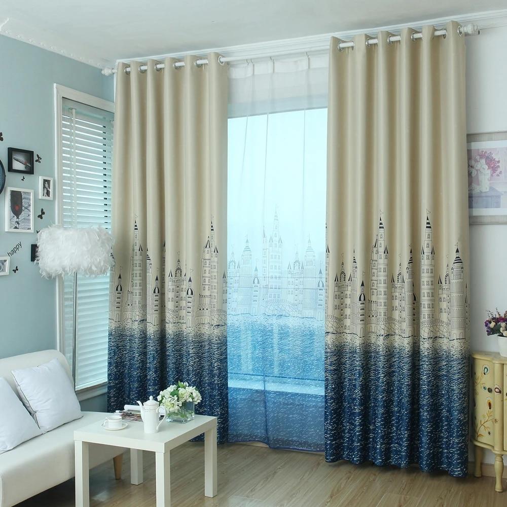 rideaux occultants motif chateau bleu imprimes pour fenetre salon chambre d enfant