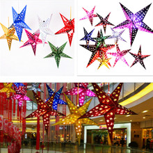 1PC/SET 30cm Shiny Star Paper Lampshade Lanterns Flower Party Decor Craft For Wedding Decoration Colorful DIY lampion