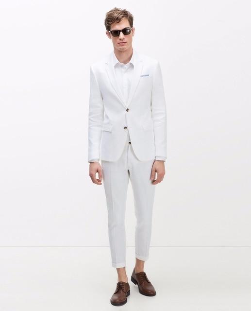5f54f6c84c2 Latest Coat Pant Designs White Casual Custom Beach Groom Tuxedo Wedding  Suits For Men 2 Pieces Slim Fit Terno Jacket+Pants KA