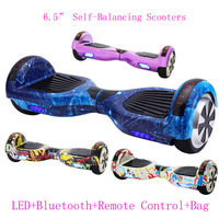 6.5 Inch Self Balancing Scooters Cheap LED Electric Scooters Two Wheels Balance Skateboard Hoverboard Bluetooth+Remote Key+Bag