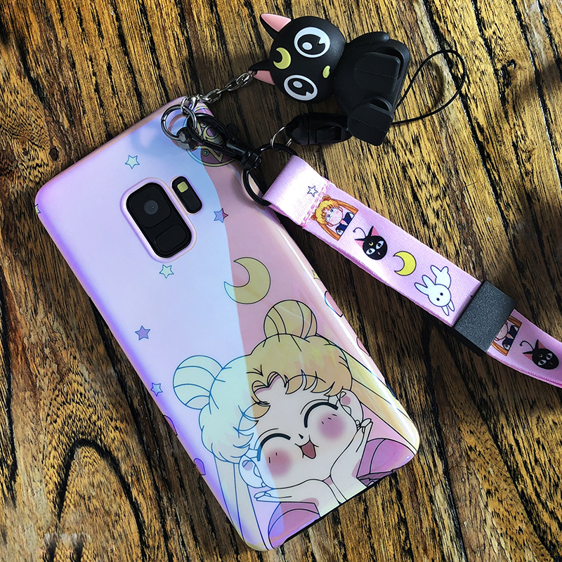 Sam S10 Cute <font><b>Case</b></font>, Doraemon sailor moon Soft back phone Cover for <font><b>Samsung</b></font> Galaxy S8 S8plus S9 plus Note 9 <font><b>note8</b></font> +toy +Straps image
