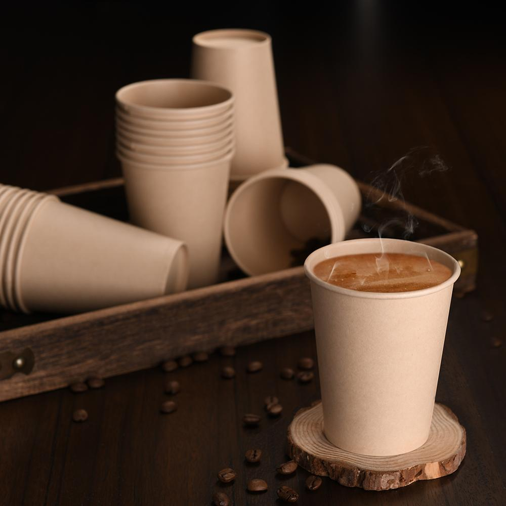 OTOR Coffee-Cups Insulated-Paper Disposable Bamboo For Hot-Drink Brown 8-Oz 9-Oz 40-Count