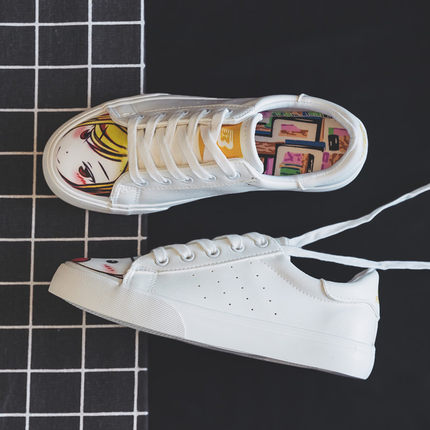 2019 small white shoes female Korean version girls canvas shoes students white shoes flat casual sports graffiti shoes 1