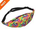Colorful 3D Print pouch women's waist bag 2016 Fashion new girls money belt bolsa cintura fanny pack motorcycle leg bags men
