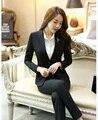 Outono Inverno Escritório Ladies Preto Blazer Mulheres ternos de Negócio Ternos Formais Ternos de Negócio Trabalho Desgaste Elegante Conjuntos de Calça e Jaqueta