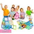 100 unids Mini educativos juguete magnético cabritos DIY plástico juguete 3D construcción magnética Building Blocks modelos para montaje