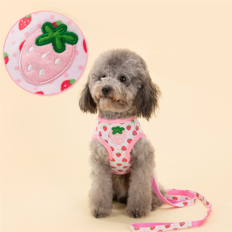 Comfort Soft Breathable Adjustable Dog Harness Pet Vest Rope Dog Chest Strap Leash Set Collar Leads Strawberry Printed Harness