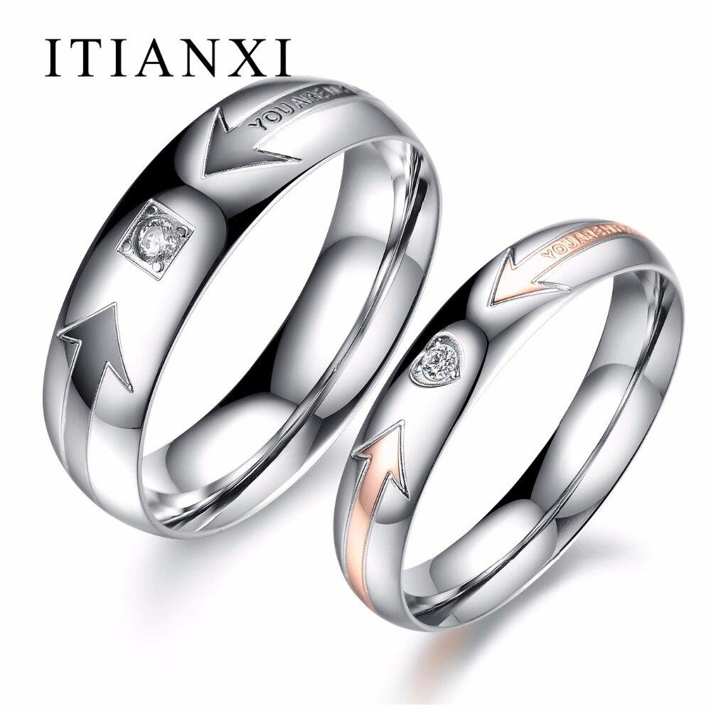 ITIANXI его и ее обещание обручальные кольца палец группы Нержавеющаясталь JEWELRY кольца пара комплектов Дизайнер кольцо для Для женщин Для муж...