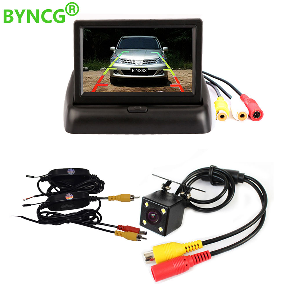 BYNCG Wireless Rear View Camera 4.3 HD Foldable Car Monitor Reversing Color LCD TFT Display Screen for Truck Vehicle Backup цена