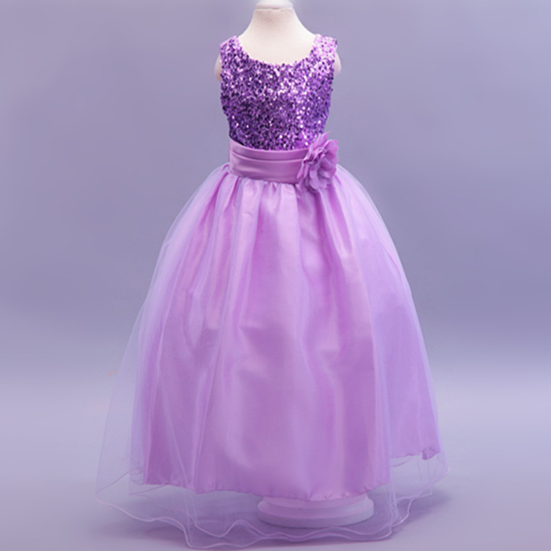 4724a5cf65b9 Buy Flower girl dresses new year birthday christmas long belt sequin ...