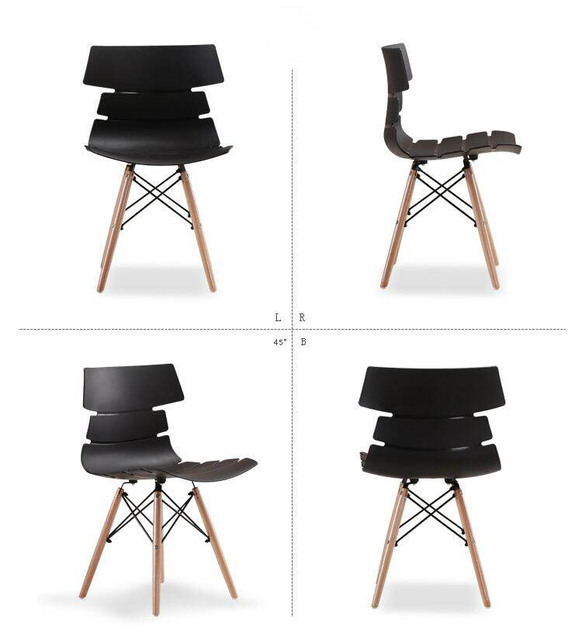 Wood Plastic Chair Simple Casual Fashion Office Modern Restaurant Contemporary Dining Chairs