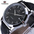 New Luxury Fashion Leather Men High Hardness Glass Black Mechanical Watches Complete Calendar Watch Brand Men Watches 2017