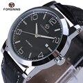 Nova Moda de Luxo Homens De Couro De Alta Dureza De Vidro Preto Relógios Mecânicos Calendário Completo Assista Homens Marca de Relógios 2017