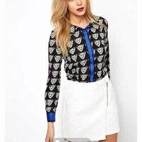 Tonen School Vrouwen Patchwork Blouse Leopard Hoofd Print Shirt Lange Mouw Blouse Single Breasted Shirt Casual Slim Tops GD0120