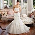 Plisado con cuentas de Organza vintage boda de la sirena 2016 vestido de novia Casamento vestido de noiva 2016 robe de mariage
