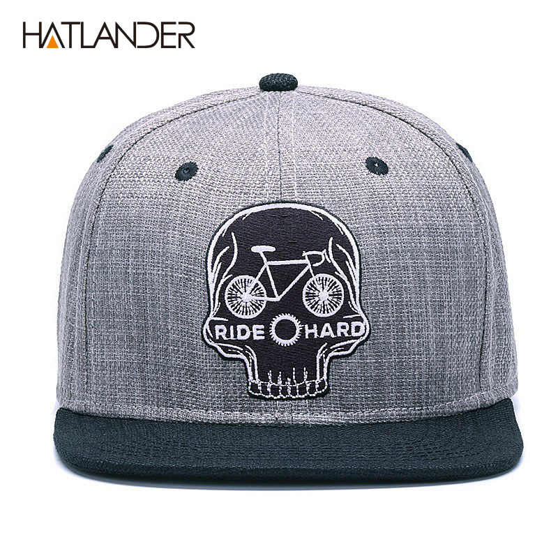 HATLANDER orijinal beyzbol şapkası erkek snapback kap marka nakış kafatası serin hip hop şapka 6 panel kemik keten İskelet spor şapkaları