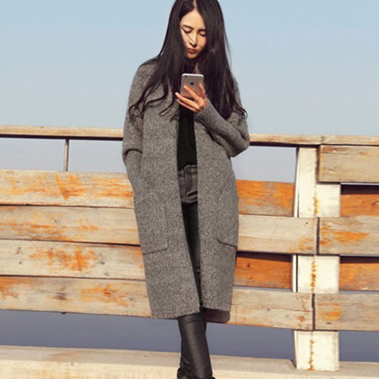 bb212732704 Europe Style Female Knitted Long Trench Cashmere Coat Cardigans 2018 Winter  Womens Oversized Sweaters Ladies Thin Coat Cardigan-in Wool   Blends from  ...