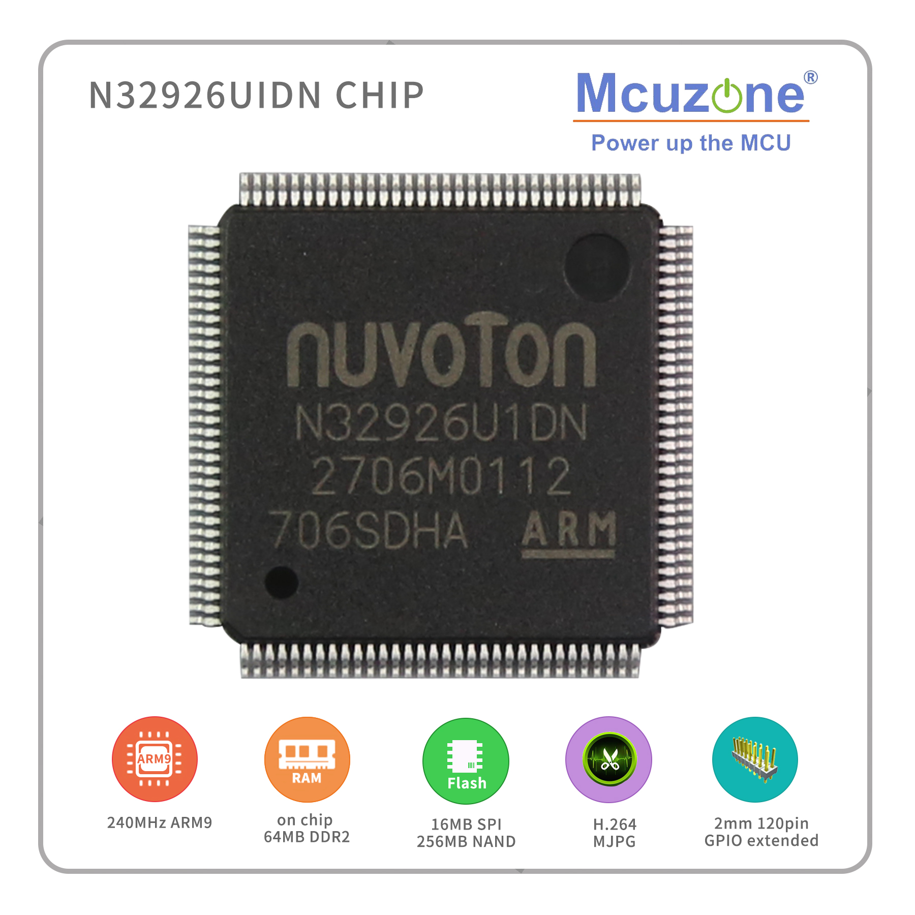 N32926U1DN, NUVOTON ARM926 Core Based Soc, With On Chip 64MB DDR2,  USB, LCDC, CMOS Interface, MJPEG H.264 Codec