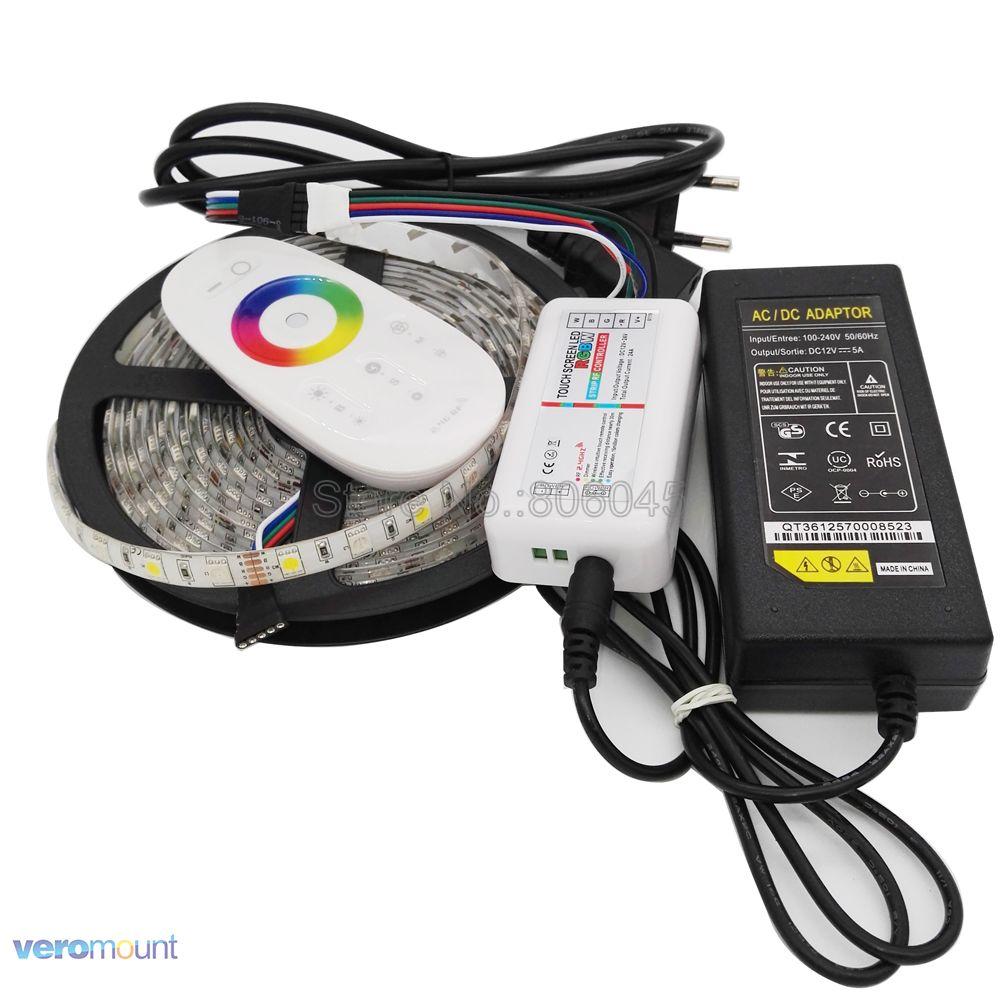 5 м 12 В 5050 RGBW RGBWW Светодиодная лента IP20 IP65 IP67 водонепроницаемый набор полос + 2,4G RGBW Пульт дистанционного управления + адаптер питания DC12V 5A