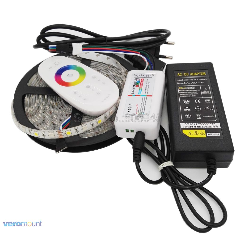 5m <font><b>12V</b></font> 5050 RGBW RGBWW <font><b>LED</b></font> Strip IP20 IP65 IP67 <font><b>Waterproof</b></font> Stripe Set + 2.4G RGBW Remote Controller + DC12V 5A Power Adapter Set image