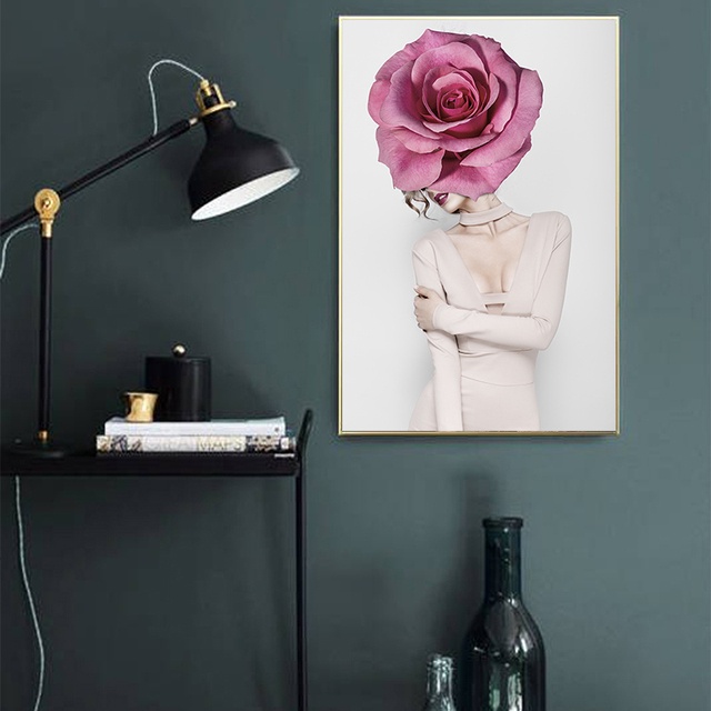 Abstract Sexy Rose Girl Canvas Painting Art Print