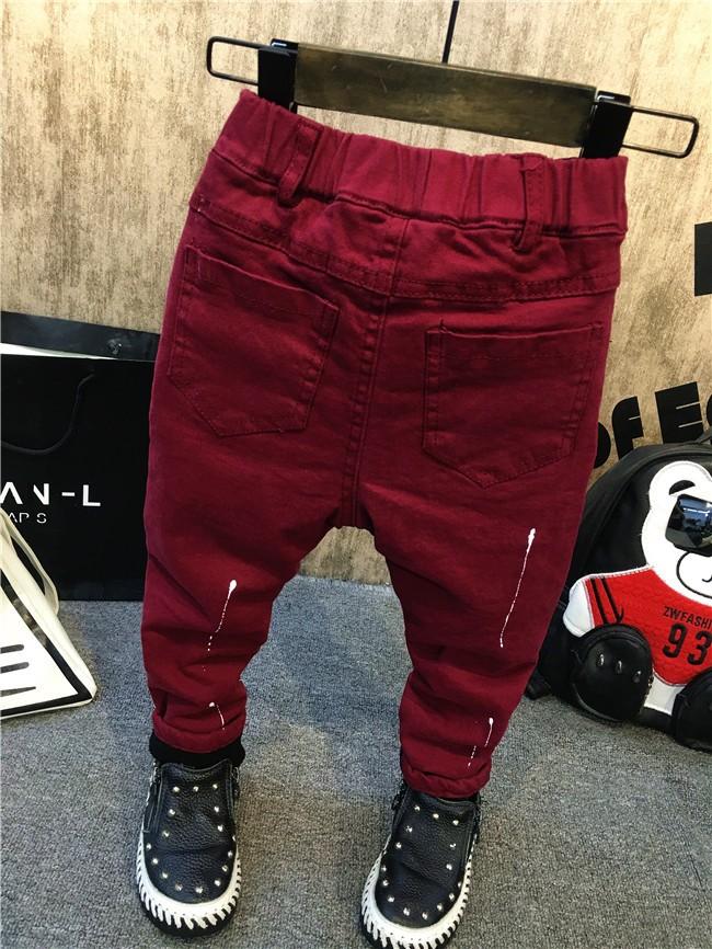 children baby boys autumn winter thick warm jeans pants (9)