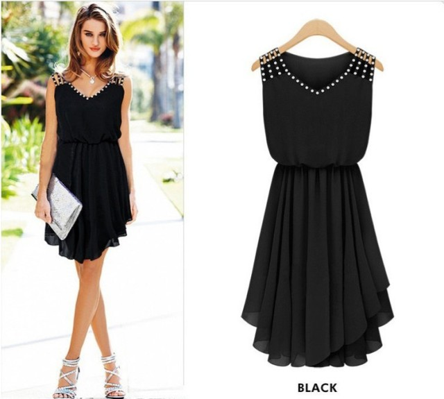 4ae321b7b0 Vestidos Summer Dress Plus Size Black Elegant Party Dresses Vestido De  Festa Chiffon Bodycon Beach Dress