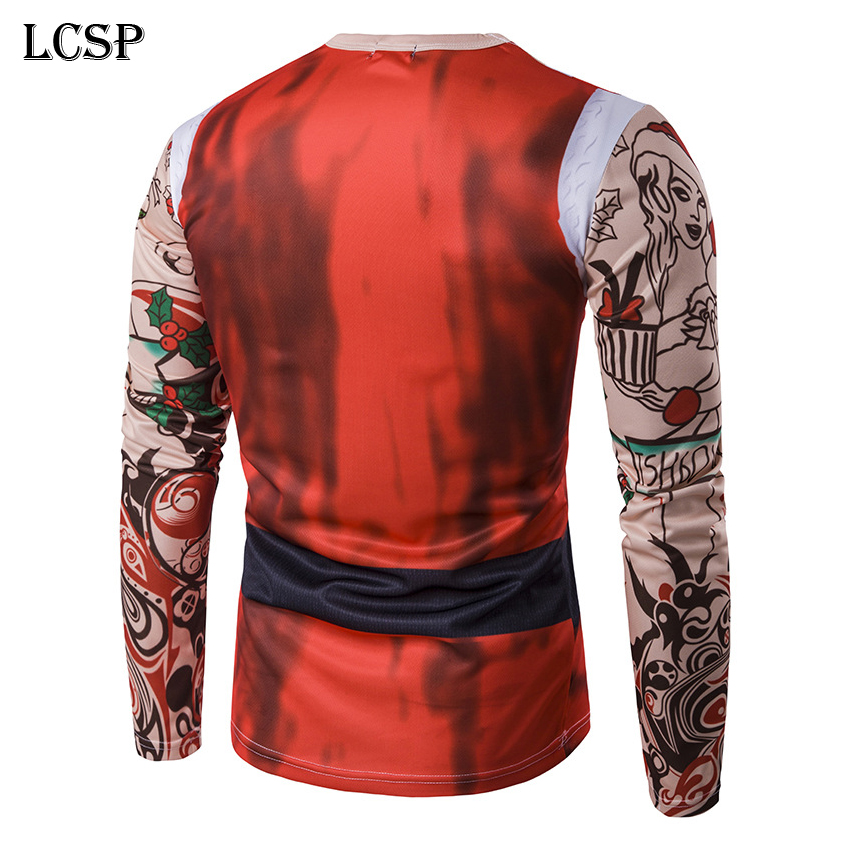 Christmas Santa Claus Tattoo 3D Print Long Sleeve Mens T-shirt Costume Clothes