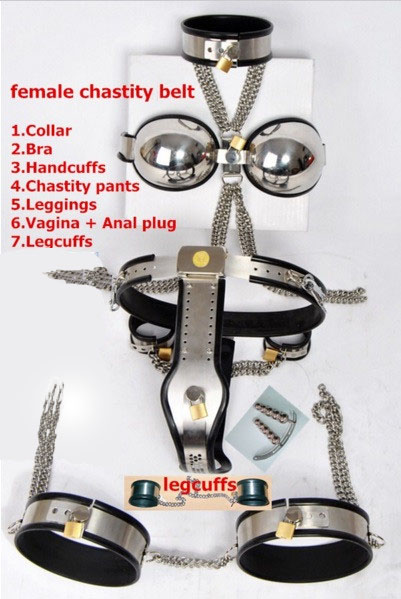 8pcs/set Stainless steel fetish female chastity belt sex bdsm bondage restraints slave set,(collar+bra+hadcuffs+chastity belt+.)