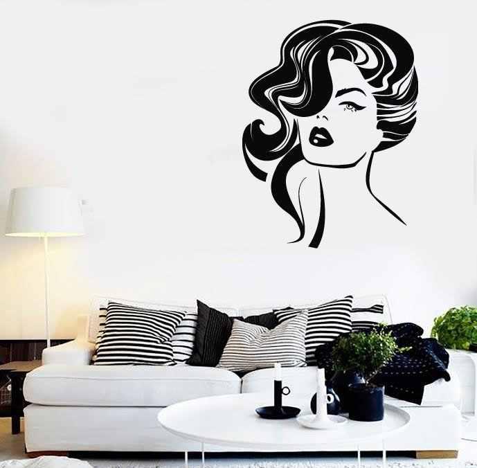 Vinilos De Moda.Calcomanias De Pared De Vinilo De Moda Estilo De Pelo Para Chica Sexy Decoracion Salon De Belleza Papel Pintado Removible Impermeable Diseno Mural