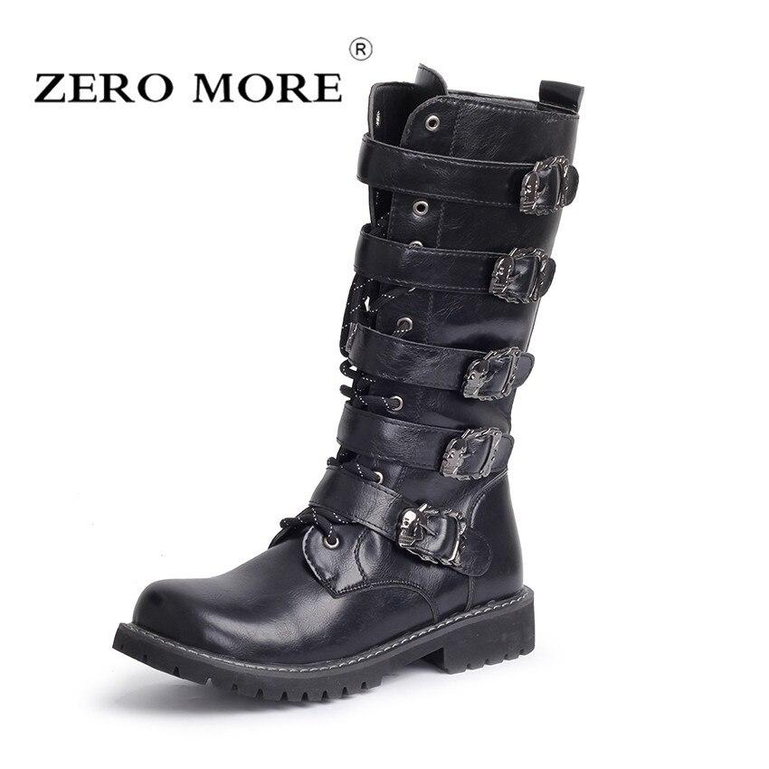 ZERO MORE армейские ботинки мужские высокие военные армейские ботинки с металлической пряжкой панк до середины икры мужские мотоциклетные бот...
